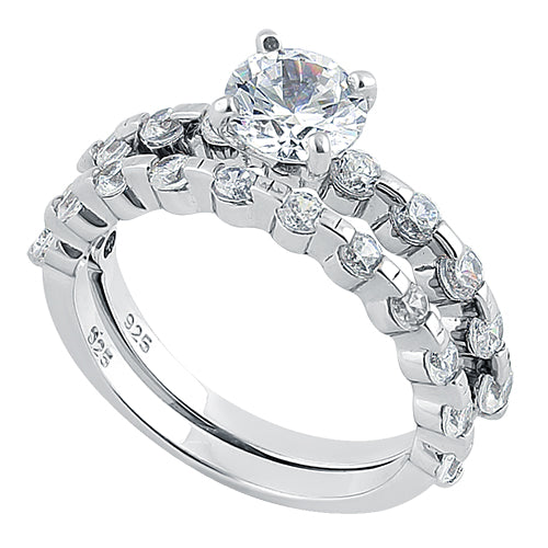 Sterling Silver Double Round CZ Ring