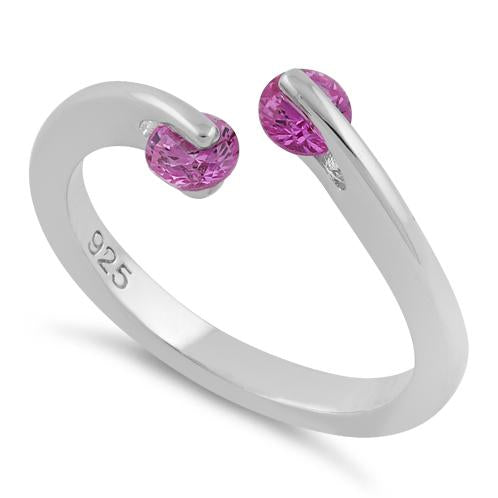 Sterling Silver Double Round Ruby CZ Ring