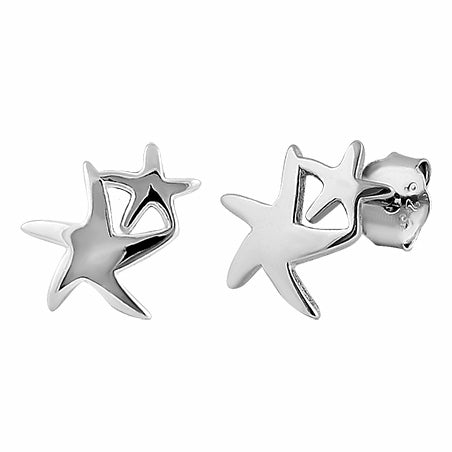 Sterling Silver Double Star Stud Earrings