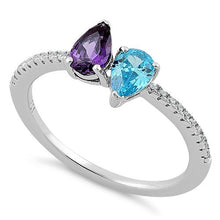 Load image into Gallery viewer, Sterling Silver Double Tear Drop Blue Topaz Amethyst CZ Ring