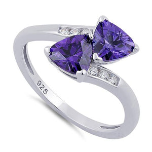 Sterling Silver Double Trillion Cut Amethyst CZ Ring