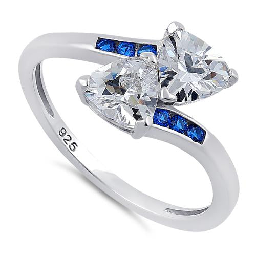 Sterling Silver Double Trillion Cut Clear & Blue Spinel CZ Ring