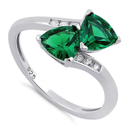 Sterling Silver Double Trillion Cut Emerald CZ Ring