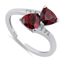 Load image into Gallery viewer, Sterling Silver Double Trillion Cut Garnet CZ Ring