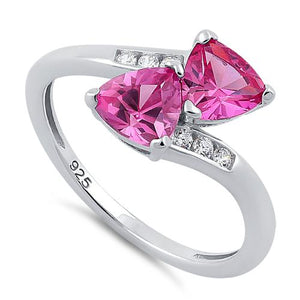 Sterling Silver Double Trillion Cut Ruby CZ Ring