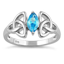 Load image into Gallery viewer, Sterling Silver Double Triquetra Charmed Marquise Blue Topaz CZ Ring