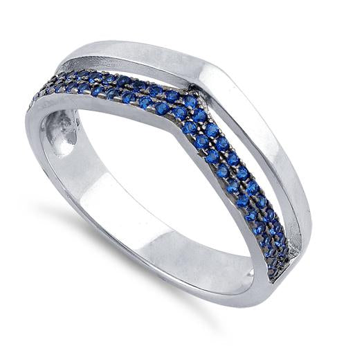 Sterling Silver Double V-Accented Blue CZ Ring