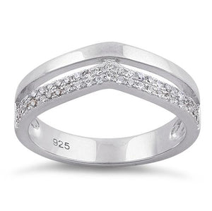 Sterling Silver Double V-Accented Clear CZ Ring
