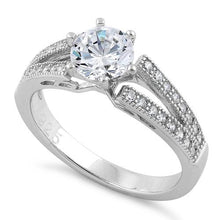 Load image into Gallery viewer, Sterling Silver Double V Engagement Clear CZ Ring