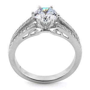 Sterling Silver Double V Engagement Clear CZ Ring