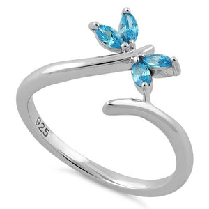 Sterling Silver Dragonfly Aqua Blue CZ Ring