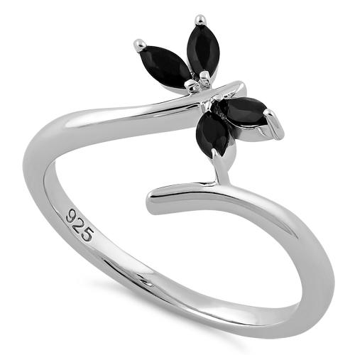 Sterling Silver Dragonfly Black CZ Ring