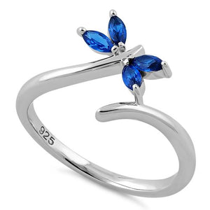Sterling Silver Dragonfly Blue Spinel CZ Ring