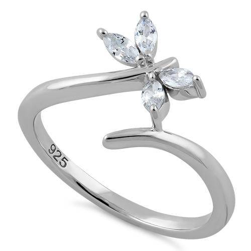 Sterling Silver Dragonfly Clear CZ Ring