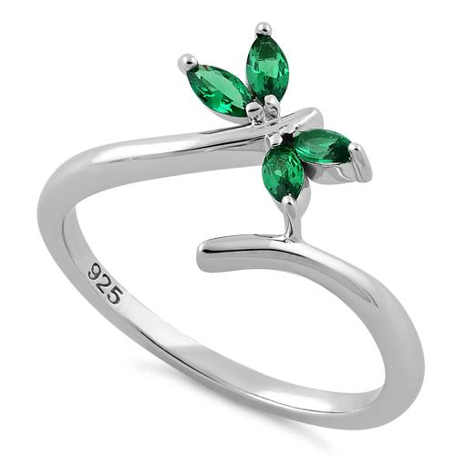 Sterling Silver Dragonfly Green CZ Ring