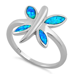 Sterling Silver Dragonfly Lab Opal Ring