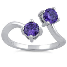 Load image into Gallery viewer, Sterling Silver Dual Round Cut Amethyst CZ Ring