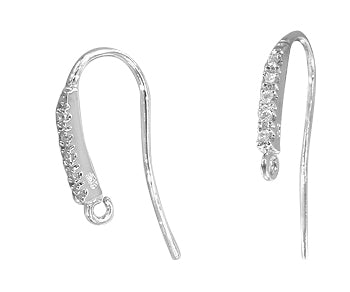 Sterling Silver Earwires with CZ 23 x 11.85mm - PACK OF 2