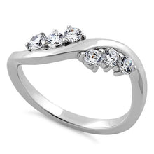 Load image into Gallery viewer, Sterling Silver Edgy CZ Ring