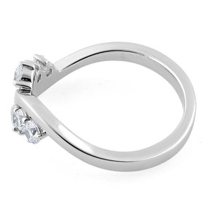 Sterling Silver Edgy CZ Ring