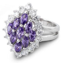 Load image into Gallery viewer, Sterling Silver Elegant Amethyst Marquise Cut CZ Ring