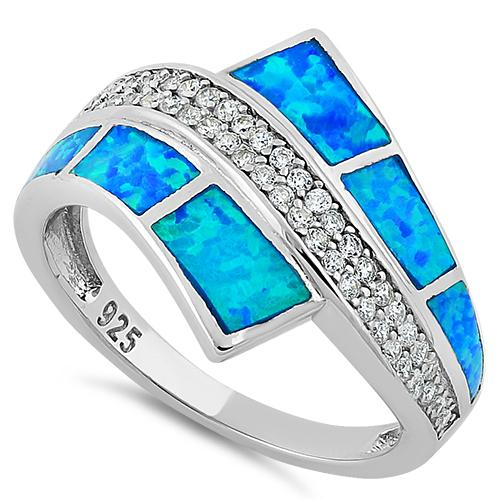 Sterling Silver Elegant Blue Lab Opal & Clear CZ Ring