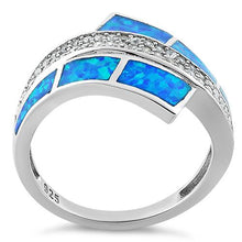 Load image into Gallery viewer, Sterling Silver Elegant Blue Lab Opal & Clear CZ Ring