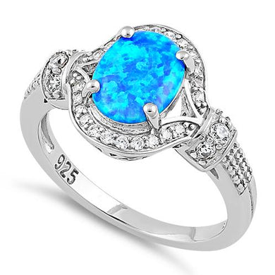 Sterling Silver Elegant Blue Oval Lab Opal CZ Ring