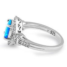 Load image into Gallery viewer, Sterling Silver Elegant Blue Oval Lab Opal CZ Ring