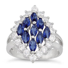 Load image into Gallery viewer, Sterling Silver Elegant Blue Sapphire Marquise Cut CZ Ring