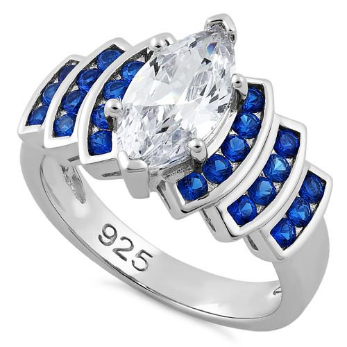 Sterling Silver Elegant Blue Spinel Marquise Clear CZ Ring