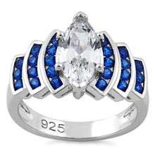 Load image into Gallery viewer, Sterling Silver Elegant Blue Spinel Marquise Clear CZ Ring