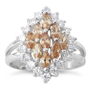 Sterling Silver Elegant Champagne Marquise Cut CZ Ring
