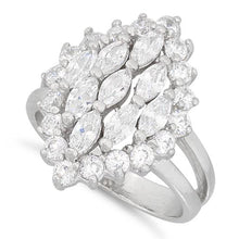 Load image into Gallery viewer, Sterling Silver Elegant Clear Marquise Cut CZ Ring