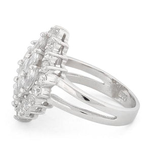 Sterling Silver Elegant Clear Marquise Cut CZ Ring