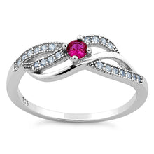 Load image into Gallery viewer, Sterling Silver Elegant Dark Pink CZ Ring