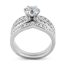 Load image into Gallery viewer, Sterling Silver Elegant Engagement Set CZ Ring