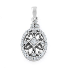 Load image into Gallery viewer, Sterling Silver Elegant Antique CZ Pendant