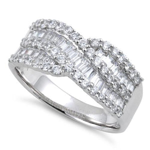 Sterling Silver Elegant Helix Clear CZ Ring