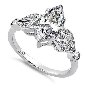 Sterling Silver Elegant Marquise Cut Clear CZ Engagement Ring