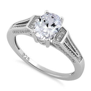 Sterling Silver Elegant Oval Clear CZ Ring