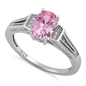 Sterling Silver Elegant Oval Pink CZ Ring