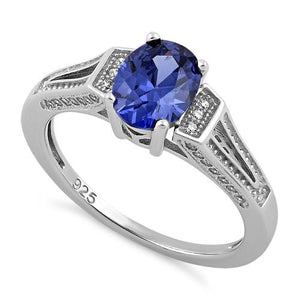 Sterling Silver Elegant Oval Tanzanite CZ Ring