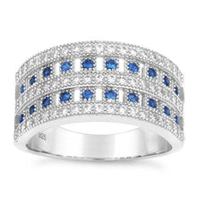 Load image into Gallery viewer, Sterling Silver Elegant Pave Blue Spinel CZ Ring