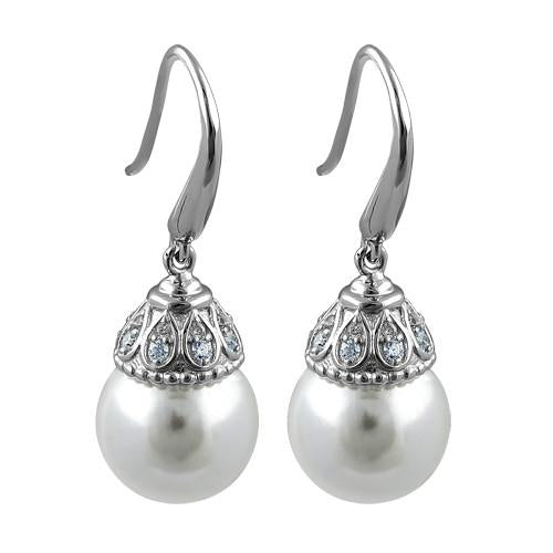 Sterling Silver Elegant Synthetic Pearl & Clear CZ Hook Earrings