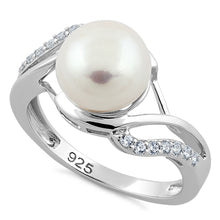 Load image into Gallery viewer, Sterling Silver Elegant Pearl CZ Ring
