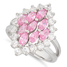 Load image into Gallery viewer, Sterling Silver Elegant Pink Marquise Cut CZ Ring