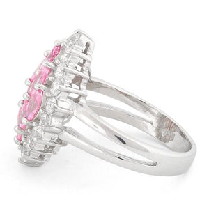 Sterling Silver Elegant Pink Marquise Cut CZ Ring
