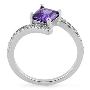 Sterling Silver Elegant Princess Cut Amethyst CZ Ring