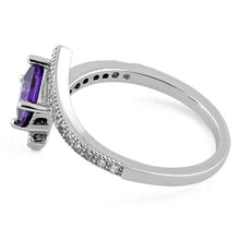 Load image into Gallery viewer, Sterling Silver Elegant Princess Cut Amethyst CZ Ring